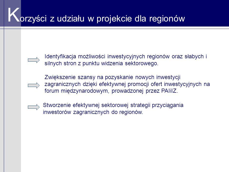 K orzyści z udziału w projekcie dla regionów Identyfikacja możliwości inwestycyjnych regionów oraz słabych i silnych stron z punktu widzenia sektorowe