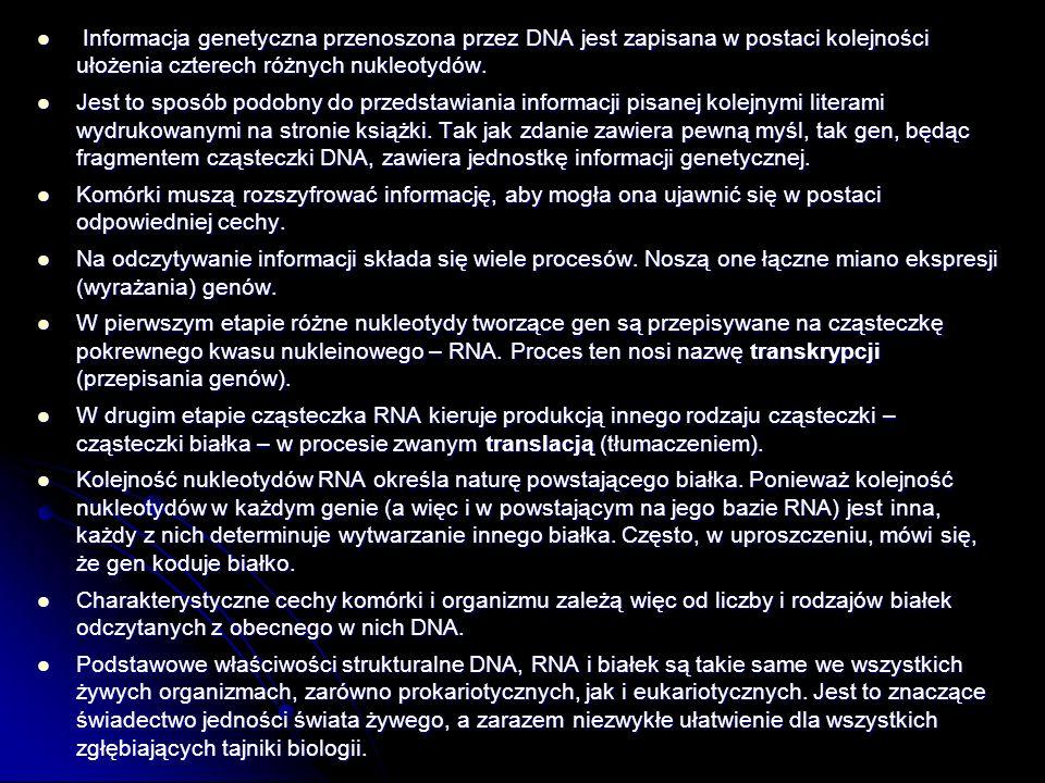 Informacja genetyczna przenoszona przez DNA jest zapisana w postaci kolejności ułożenia czterech różnych nukleotydów. Informacja genetyczna przenoszon