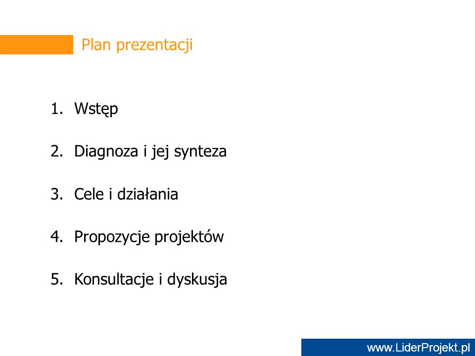 www.LiderProjekt.pl Plan prezentacji 1.Wstęp 2.Diagnoza i jej synteza 3.Cele i działania 4.Propozycje projektów 5.Konsultacje i dyskusja