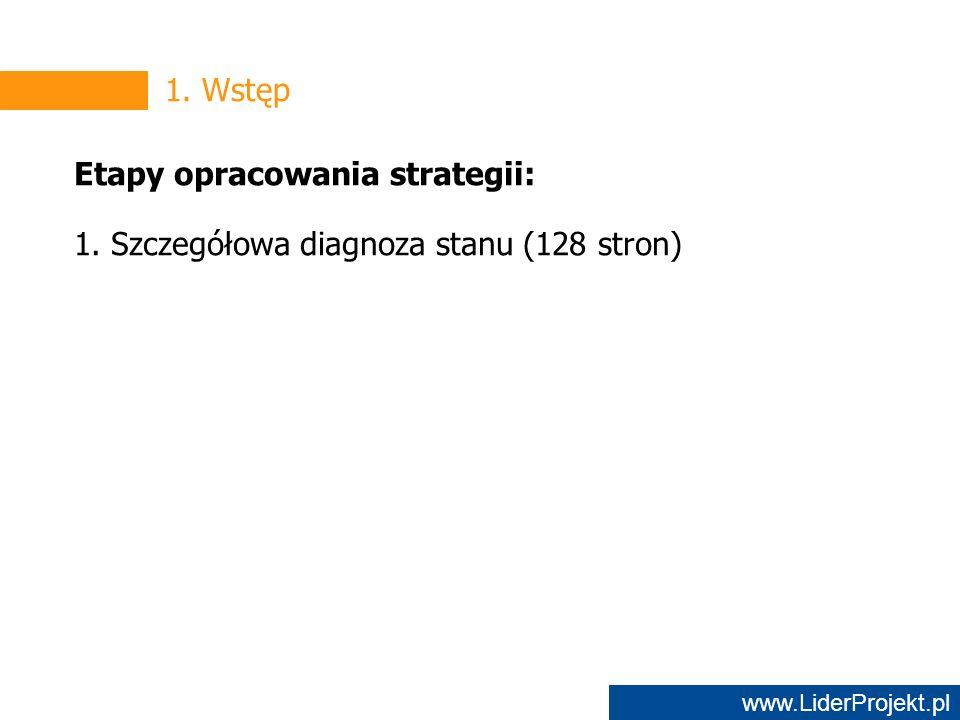 www.LiderProjekt.pl 1. Wstęp Etapy opracowania strategii: 1. Szczegółowa diagnoza stanu (128 stron)