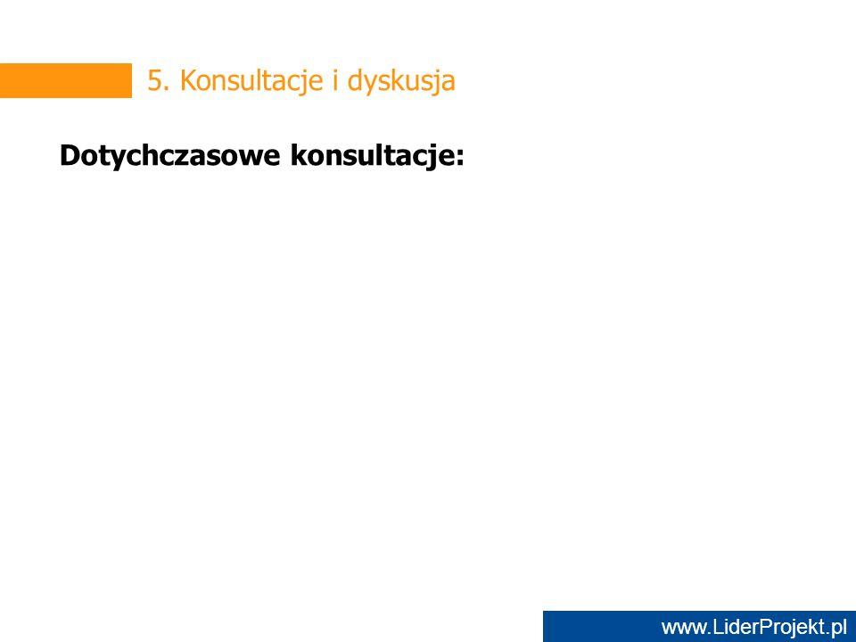 www.LiderProjekt.pl 5. Konsultacje i dyskusja Dotychczasowe konsultacje: