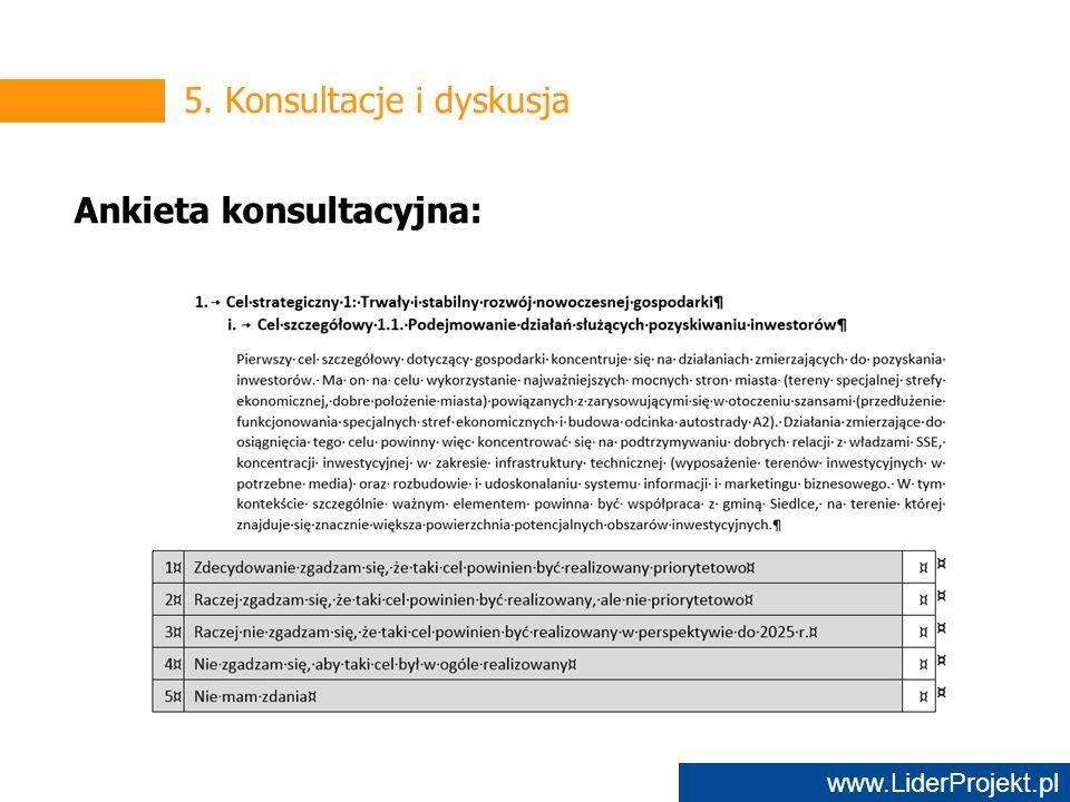 www.LiderProjekt.pl 5. Konsultacje i dyskusja Ankieta konsultacyjna: