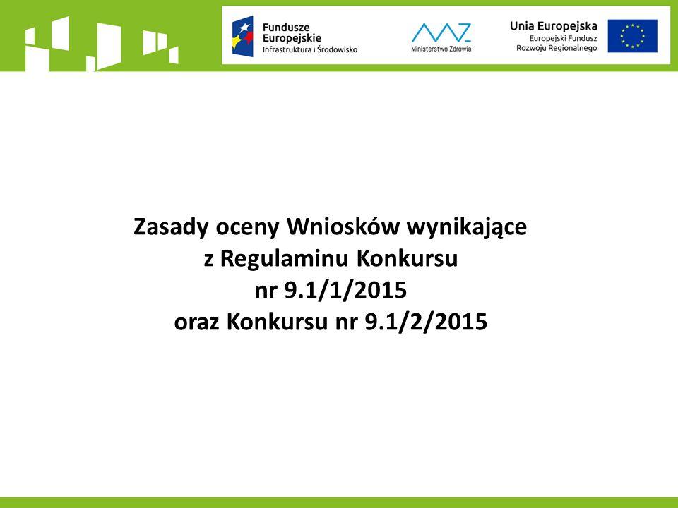 Zasady oceny Wniosków wynikające z Regulaminu Konkursu nr 9.1/1/2015 oraz Konkursu nr 9.1/2/2015