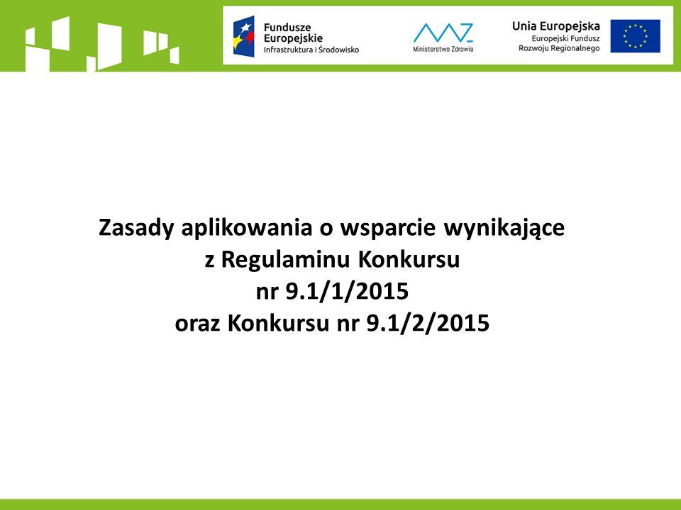 Zasady aplikowania o wsparcie wynikające z Regulaminu Konkursu nr 9.1/1/2015 oraz Konkursu nr 9.1/2/2015