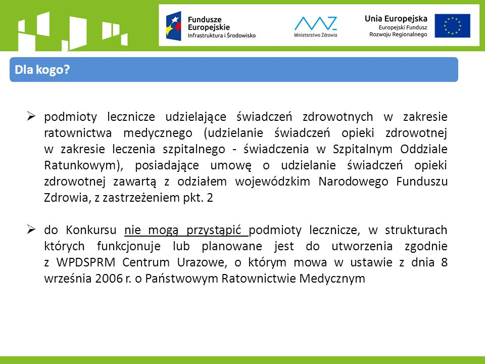 Konkurs nr 9.1/1/2015Konkurs nr 9.1/2/2015 Zasięg terytorialnyprojekty, które realizowane będą na terytorium Rzeczypospolitej Polskiej z wyłączeniem województwa mazowieckiego projekty, które realizowane będą wyłącznie na terytorium województwa mazowieckiego Alokacja160 mln PLN20 mln PLN Maksymalny udział dofinansowania w wydatkach kwalifikowanych na poziomie projektu 100 % - dla jednostek zapewniających wkład własny ze środków budżetu państwa; 85 % - dla jednostek zapewniających wkład własny ze środków innych niż budżet państwa (np.