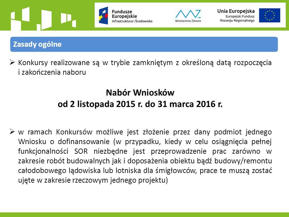  Konkursy realizowane są w trybie zamkniętym z określoną datą rozpoczęcia i zakończenia naboru Nabór Wniosków od 2 listopada 2015 r.