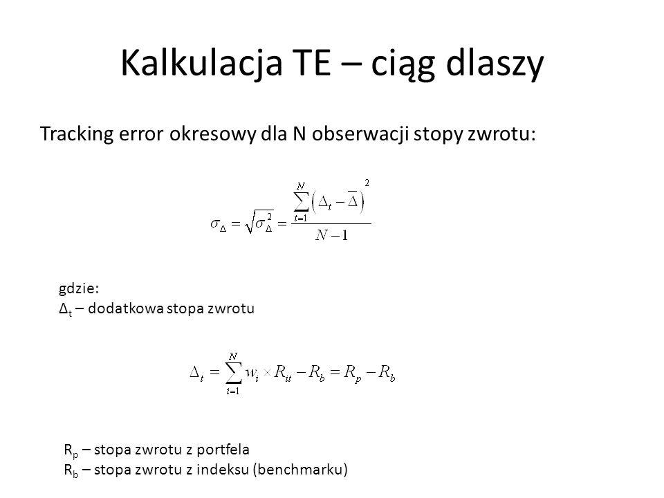 Kalkulacja TE – ciąg dlaszy Tracking error okresowy dla N obserwacji stopy zwrotu: gdzie: Δ t – dodatkowa stopa zwrotu R p – stopa zwrotu z portfela R b – stopa zwrotu z indeksu (benchmarku)