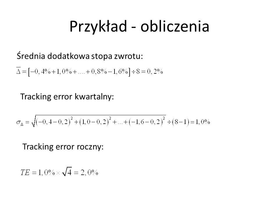 Przykład - obliczenia Średnia dodatkowa stopa zwrotu: Tracking error kwartalny: Tracking error roczny: