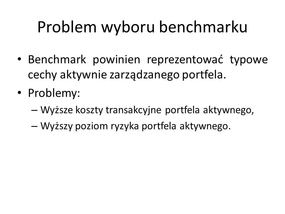 Problem wyboru benchmarku Benchmark powinien reprezentować typowe cechy aktywnie zarządzanego portfela.