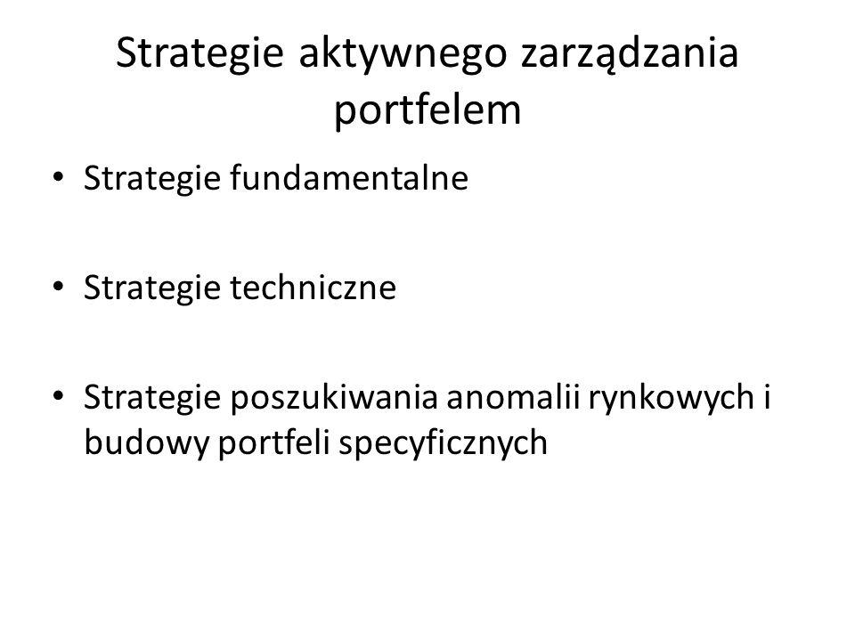 Strategie aktywnego zarządzania portfelem Strategie fundamentalne Strategie techniczne Strategie poszukiwania anomalii rynkowych i budowy portfeli specyficznych