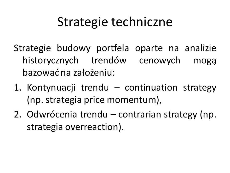 Strategie techniczne Strategie budowy portfela oparte na analizie historycznych trendów cenowych mogą bazować na założeniu: 1.Kontynuacji trendu – continuation strategy (np.