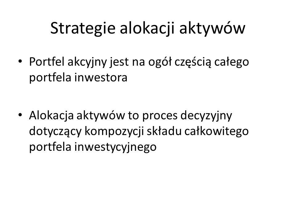 Strategie alokacji aktywów Portfel akcyjny jest na ogół częścią całego portfela inwestora Alokacja aktywów to proces decyzyjny dotyczący kompozycji składu całkowitego portfela inwestycyjnego