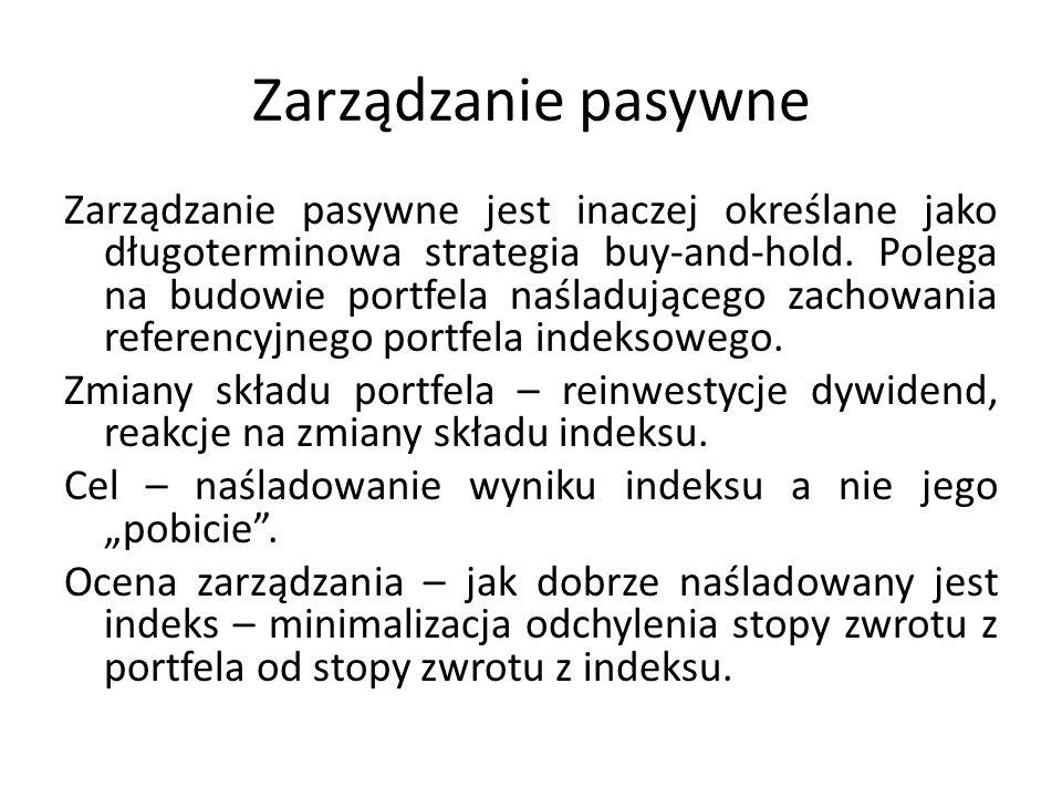 Zarządzanie pasywne Zarządzanie pasywne jest inaczej określane jako długoterminowa strategia buy-and-hold.