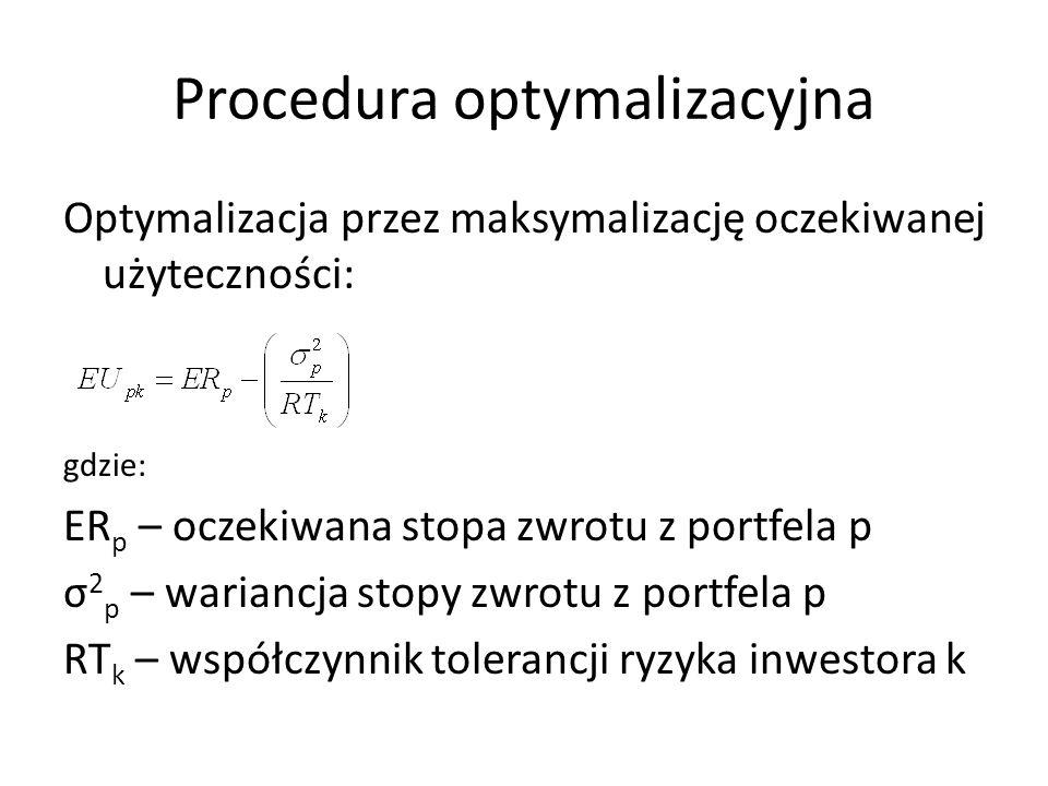 Procedura optymalizacyjna Optymalizacja przez maksymalizację oczekiwanej użyteczności: gdzie: ER p – oczekiwana stopa zwrotu z portfela p σ 2 p – wariancja stopy zwrotu z portfela p RT k – współczynnik tolerancji ryzyka inwestora k