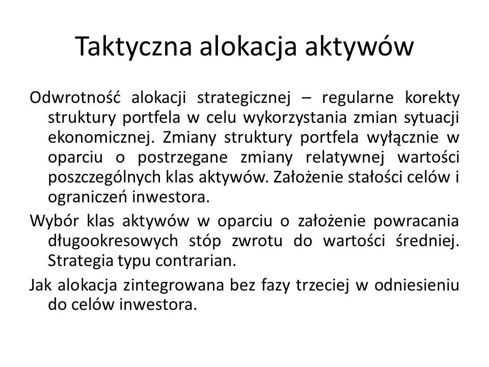Taktyczna alokacja aktywów Odwrotność alokacji strategicznej – regularne korekty struktury portfela w celu wykorzystania zmian sytuacji ekonomicznej.