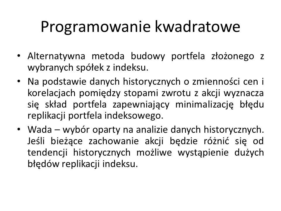 Programowanie kwadratowe Alternatywna metoda budowy portfela złożonego z wybranych spółek z indeksu.