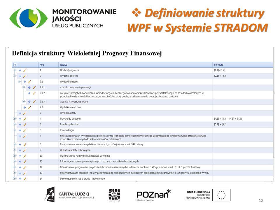  Definiowanie struktury WPF w Systemie STRADOM 12