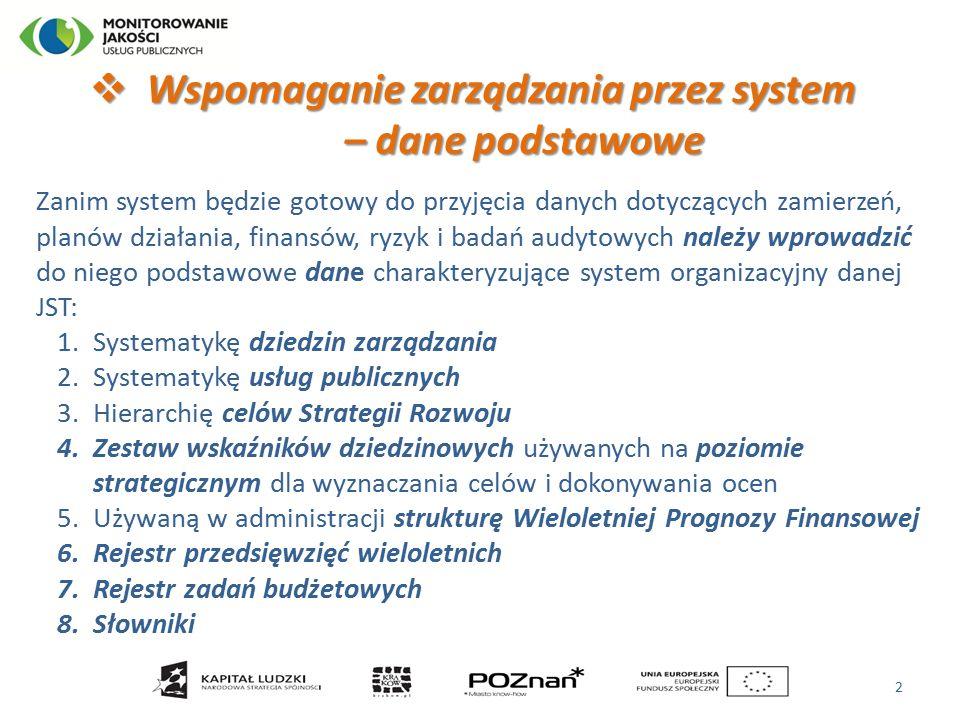  Wspomaganie zarządzania przez system – dane podstawowe – dane podstawowe Zanim system będzie gotowy do przyjęcia danych dotyczących zamierzeń, planów działania, finansów, ryzyk i badań audytowych należy wprowadzić do niego podstawowe dane charakteryzujące system organizacyjny danej JST: 1.Systematykę dziedzin zarządzania 2.Systematykę usług publicznych 3.Hierarchię celów Strategii Rozwoju 4.Zestaw wskaźników dziedzinowych używanych na poziomie strategicznym dla wyznaczania celów i dokonywania ocen 5.Używaną w administracji strukturę Wieloletniej Prognozy Finansowej 6.Rejestr przedsięwzięć wieloletnich 7.Rejestr zadań budżetowych 8.Słowniki 2