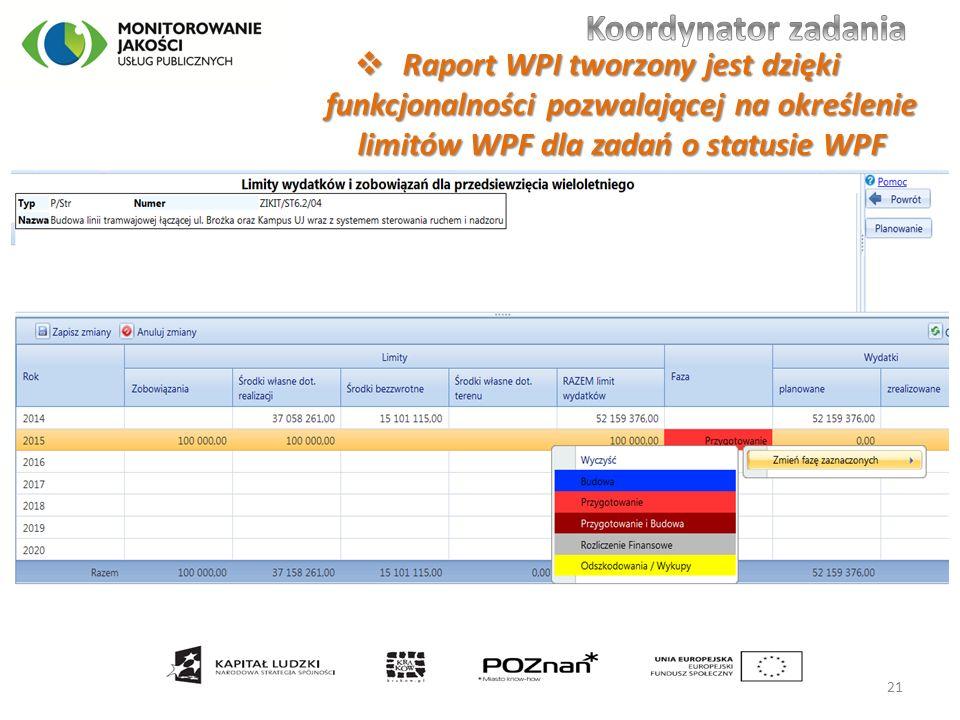  Raport WPI tworzony jest dzięki funkcjonalności pozwalającej na określenie limitów WPF dla zadań o statusie WPF 21