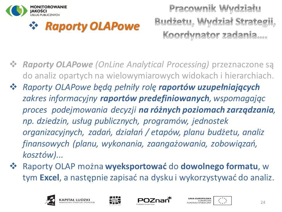 Raporty OLAPowe  Raporty OLAPowe  Raporty OLAPowe (OnLine Analytical Processing) przeznaczone są do analiz opartych na wielowymiarowych widokach i hierarchiach.