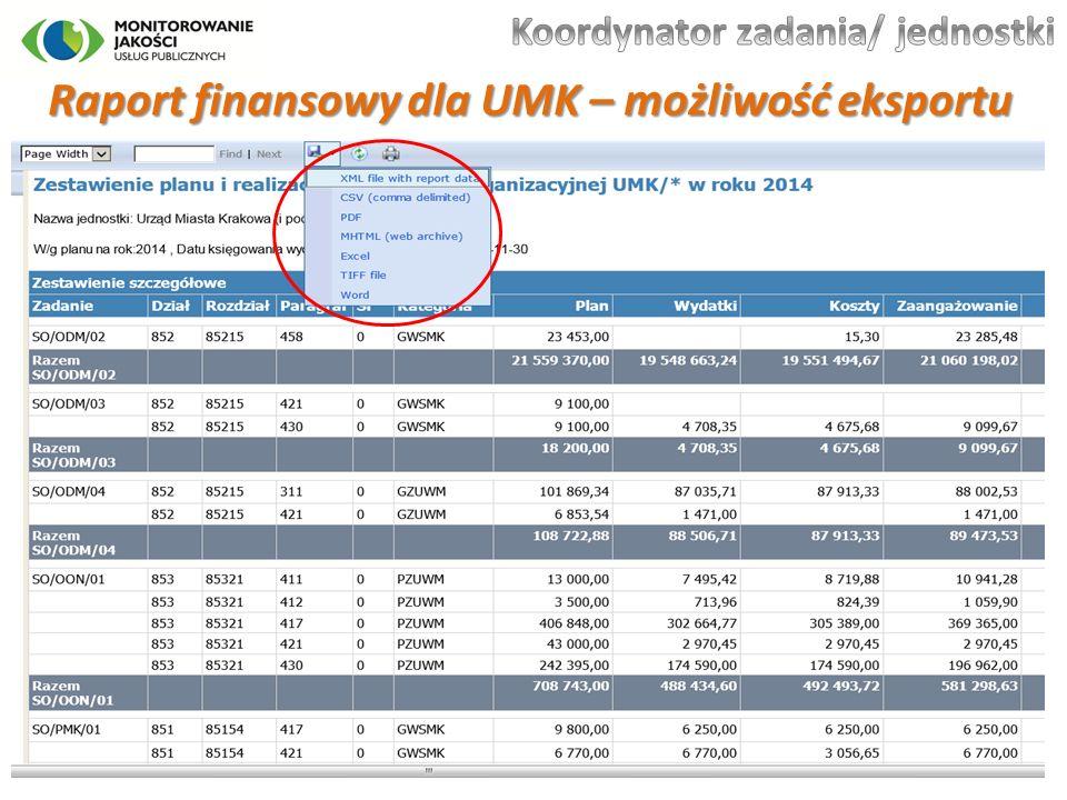 Raport finansowy dla UMK – możliwość eksportu 30