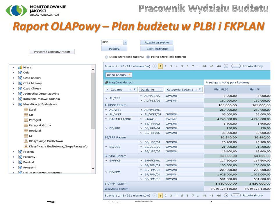 Raport OLAPowy – Plan budżetu w PLBI i FKPLAN 32
