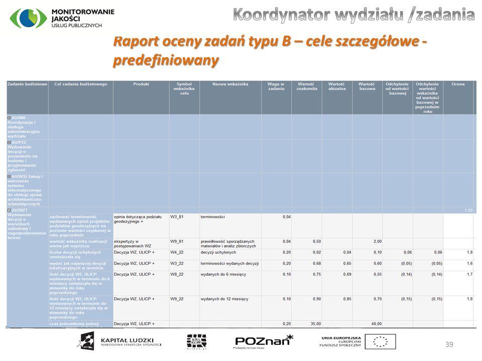 Raport oceny zadań typu B – cele szczegółowe - predefiniowany 39