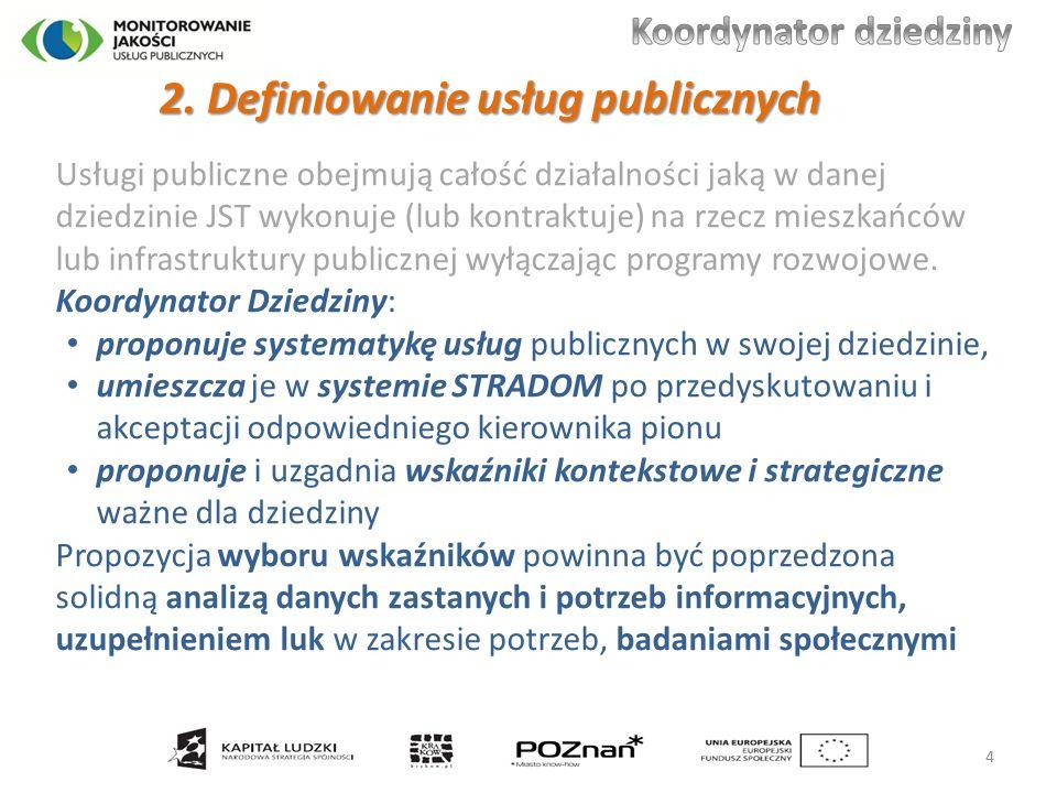 Usługi publiczne obejmują całość działalności jaką w danej dziedzinie JST wykonuje (lub kontraktuje) na rzecz mieszkańców lub infrastruktury publicznej wyłączając programy rozwojowe.