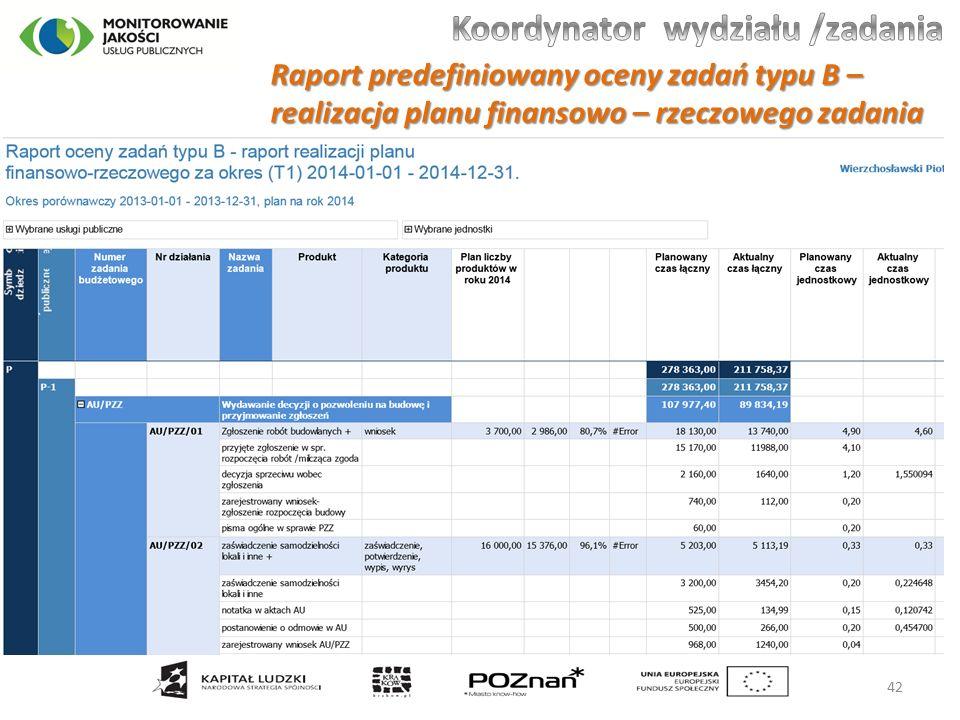 Raport predefiniowany oceny zadań typu B – realizacja planu finansowo – rzeczowego zadania 42