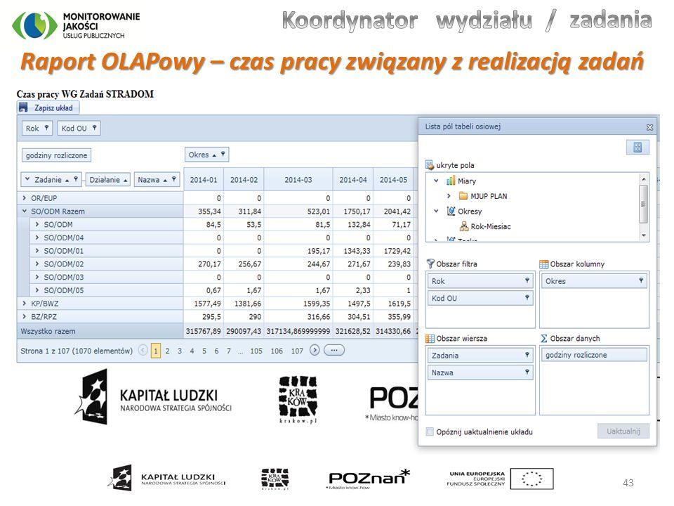 Raport OLAPowy – czas pracy związany z realizacją zadań 43