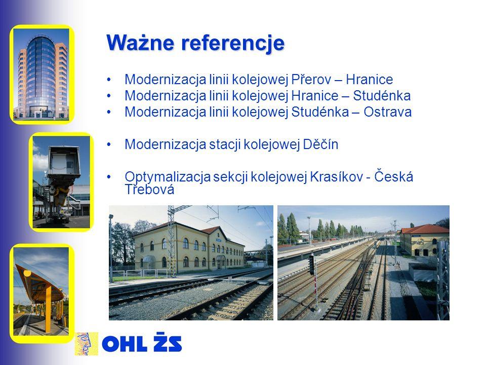 Ważne referencje Modernizacja linii kolejowej Přerov – Hranice Modernizacja linii kolejowej Hranice – Studénka Modernizacja linii kolejowej Studénka – Ostrava Modernizacja stacji kolejowej Děčín Optymalizacja sekcji kolejowej Krasíkov - Česká Třebová