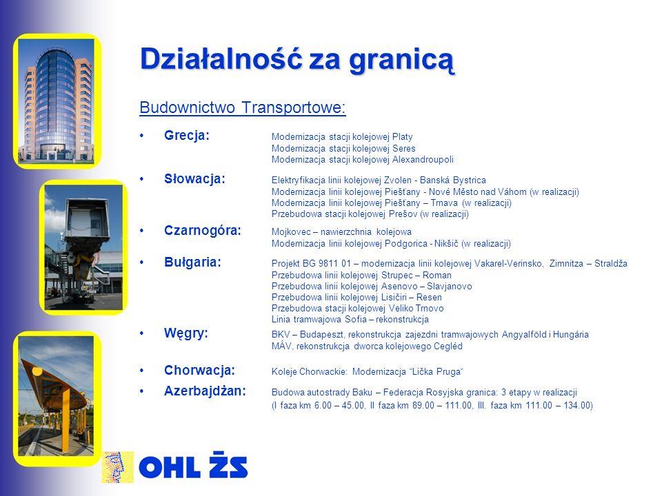Działalność za granicą Budownictwo Transportowe: Grecja: Modernizacja stacji kolejowej Platy Modernizacja stacji kolejowej Seres Modernizacja stacji kolejowej Alexandroupoli Słowacja: Elektryfikacja linii kolejowej Zvolen - Banská Bystrica Modernizacja linii kolejowej Piešťany - Nové Město nad Váhom (w realizacji) Modernizacja linii kolejowej Piešťany – Trnava (w realizacji) Przebudowa stacji kolejowej Prešov (w realizacji) Czarnogóra: Mojkovec – nawierzchnia kolejowa Modernizacja linii kolejowej Podgorica - Nikšič (w realizacji) Bułgaria: Projekt BG 9811 01 – modernizacja linii kolejowej Vakarel-Verinsko, Zimnitza – Straldža Przebudowa linii kolejowej Strupec – Roman Przebudowa linii kolejowej Asenovo – Slavjanovo Przebudowa linii kolejowej Lisičiri – Resen Przebudowa stacji kolejowej Veliko Trnovo Linia tramwajowa Sofia – rekonstrukcja Węgry: BKV – Budapeszt, rekonstrukcja zajezdni tramwajowych Angyalföld i Hungária MÁV, rekonstrukcja dworca kolejowego Cegléd Chorwacja: Koleje Chorwackie: Modernizacja Lička Pruga Azerbajdżan: Budowa autostrady Baku – Federacja Rosyjska granica: 3 etapy w realizacji (I faza km 6.00 – 45.00, II faza km 89.00 – 111.00, III.