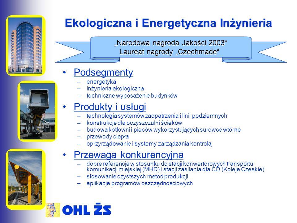 """Ekologiczna i Energetyczna Inżynieria Podsegmenty –energetyka –inżynieria ekologiczna –techniczne wyposażenie budynków Produkty i usługi –technologia systemów zaopatrzenia i linii podziemnych –konstrukcje dla oczyszczalni ścieków –budowa kotłowni i pieców wykorzystujących surowce wtórne –przewody ciepła –oprzyrządowanie i systemy zarządzania kontrolą Przewaga konkurencyjna –dobre referencje w stosunku do stacji konwertorowych transportu komunikacji miejskiej (MHD) i stacji zasilania dla ČD (Koleje Czeskie) –stosowanie czystszych metod produkcji –aplikacje programów oszczędnościowych """"Narodowa nagroda Jakości 2003 Laureat nagrody """"Czechmade"""