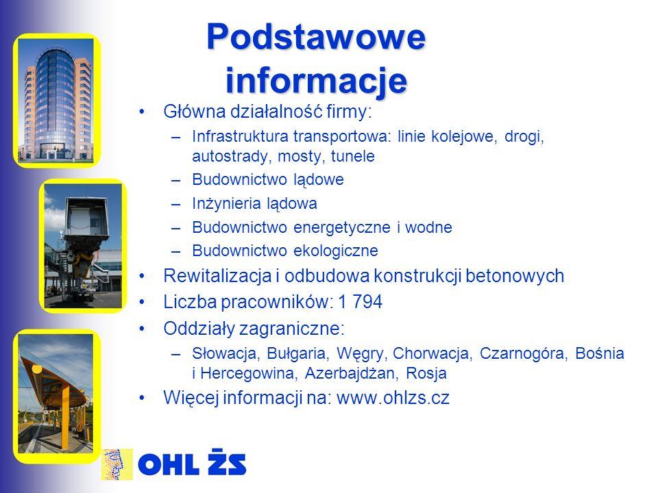 Podstawowe informacje Główna działalność firmy: –Infrastruktura transportowa: linie kolejowe, drogi, autostrady, mosty, tunele –Budownictwo lądowe –Inżynieria lądowa –Budownictwo energetyczne i wodne –Budownictwo ekologiczne Rewitalizacja i odbudowa konstrukcji betonowych Liczba pracowników: 1 794 Oddziały zagraniczne: –Słowacja, Bułgaria, Węgry, Chorwacja, Czarnogóra, Bośnia i Hercegowina, Azerbajdżan, Rosja Więcej informacji na: www.ohlzs.cz