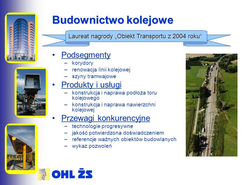 """Budownictwo kolejowe Podsegmenty –korydory –renowacja linii kolejowej –szyny tramwajowe Produkty i usługi –konstrukcja i naprawa podłoża toru kolejowego –konstrukcja i naprawa nawierzchni kolejowej Przewagi konkurencyjne –technologie progresywne –jakość potwierdzona doświadczeniem –referencje ważnych obiektów budowlanych –wykaz pozwoleń Laureat nagrody """"Obiekt Transportu z 2004 roku"""