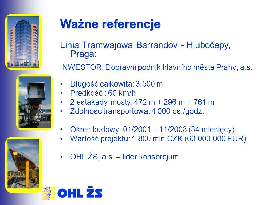 Ważne referencje Linia Tramwajowa Barrandov - Hlubočepy, Praga: INWESTOR: Dopravní podnik hlavního města Prahy, a.s. Długość całkowita: 3.500 m Prędko