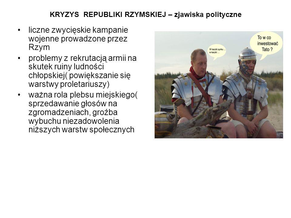 KRYZYS REPUBLIKI RZYMSKIEJ – zjawiska polityczne liczne zwycięskie kampanie wojenne prowadzone przez Rzym problemy z rekrutacją armii na skutek ruiny