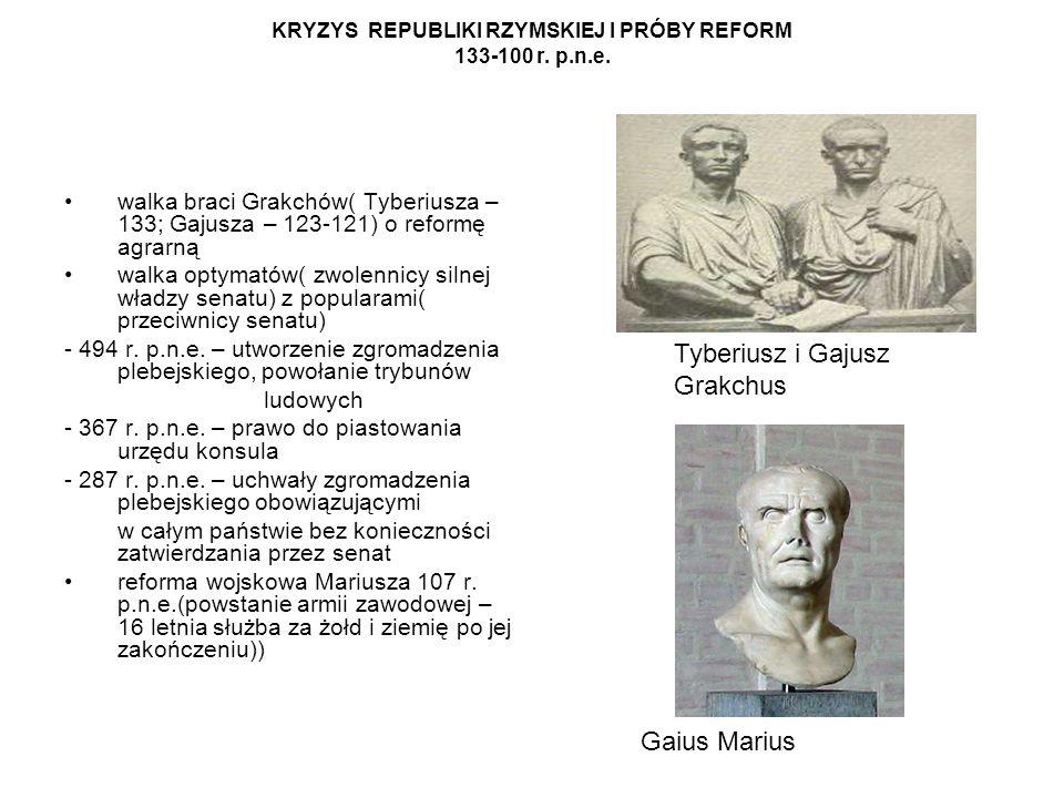 KRYZYS REPUBLIKI RZYMSKIEJ I PRÓBY REFORM 133-100 r. p.n.e. walka braci Grakchów( Tyberiusza – 133; Gajusza – 123-121) o reformę agrarną walka optymat