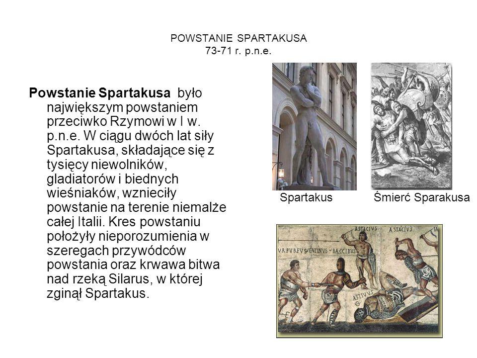 POWSTANIE SPARTAKUSA 73-71 r. p.n.e. Powstanie Spartakusa było największym powstaniem przeciwko Rzymowi w I w. p.n.e. W ciągu dwóch lat siły Spartakus