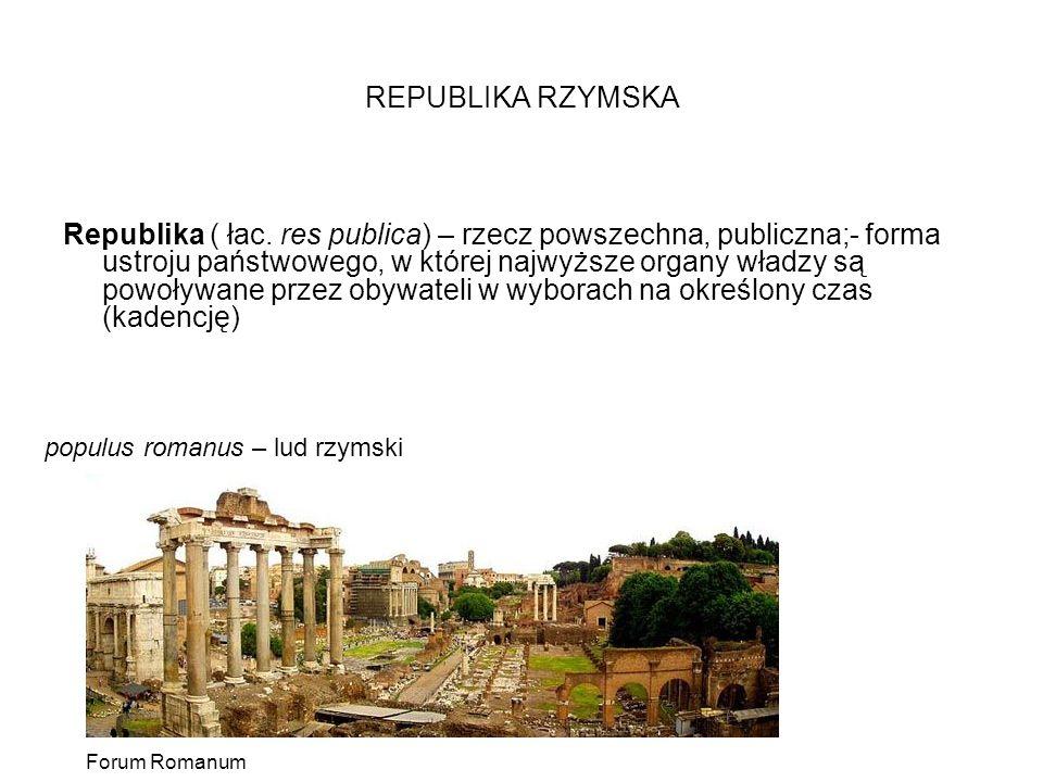 REPUBLIKA RZYMSKA Republika ( łac. res publica) – rzecz powszechna, publiczna;- forma ustroju państwowego, w której najwyższe organy władzy są powoływ