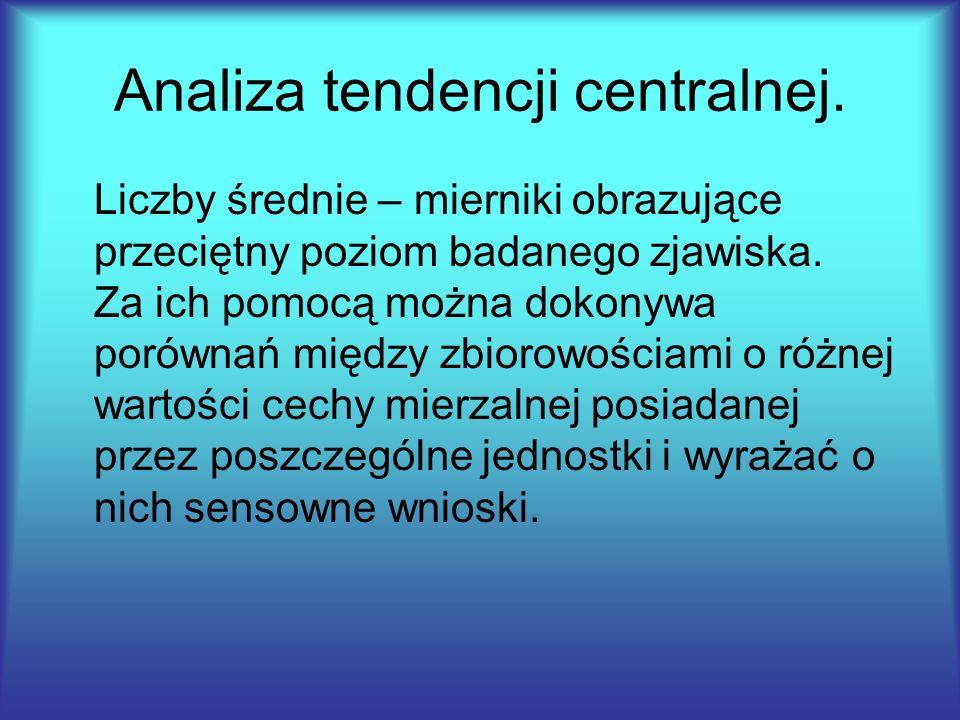 Analiza tendencji centralnej. Liczby średnie – mierniki obrazujące przeciętny poziom badanego zjawiska. Za ich pomocą można dokonywa porównań między z
