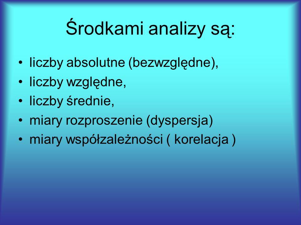 Środkami analizy są: liczby absolutne (bezwzględne), liczby względne, liczby średnie, miary rozproszenie (dyspersja) miary współzależności ( korelacja