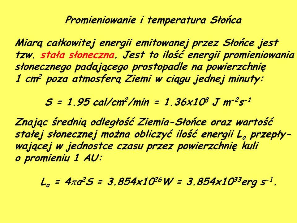 Promieniowanie i temperatura Słońca Miarą całkowitej energii emitowanej przez Słońce jest tzw.