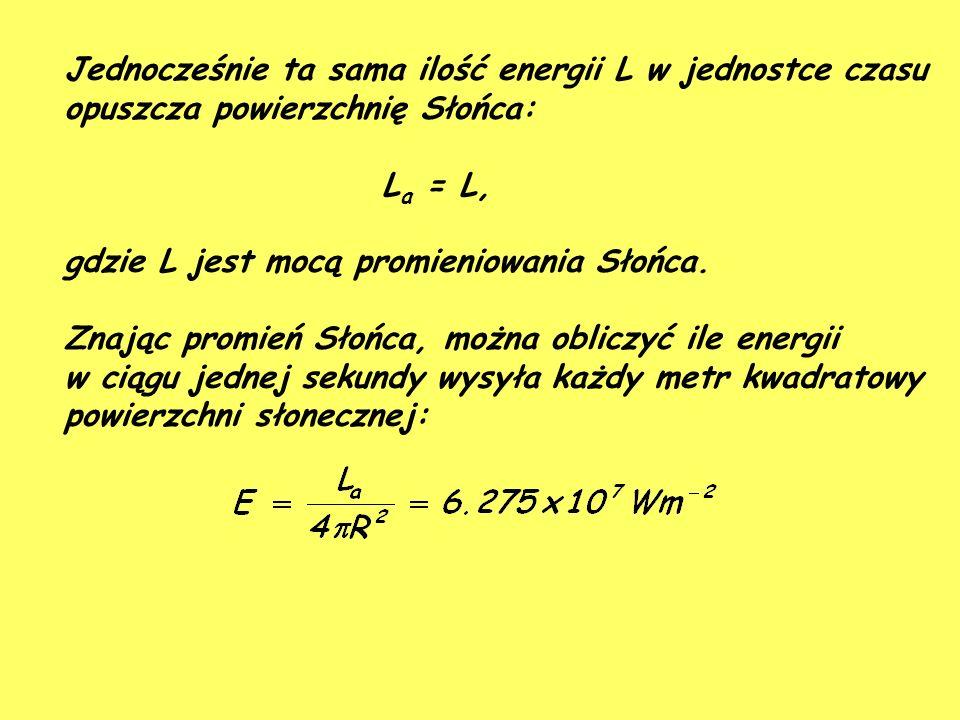 Jednocześnie ta sama ilość energii L w jednostce czasu opuszcza powierzchnię Słońca: L a = L, gdzie L jest mocą promieniowania Słońca.