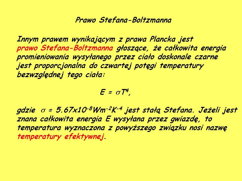 Prawo Stefana-Boltzmanna Innym prawem wynikającym z prawa Plancka jest prawo Stefana-Boltzmanna głoszące, że całkowita energia promieniowania wysyłanego przez ciało doskonale czarne jest proporcjonalna do czwartej potęgi temperatury bezwzględnej tego ciała: E =  T 4, gdzie  = 5.67x10 -8 Wm -2 K -4 jest stałą Stefana.