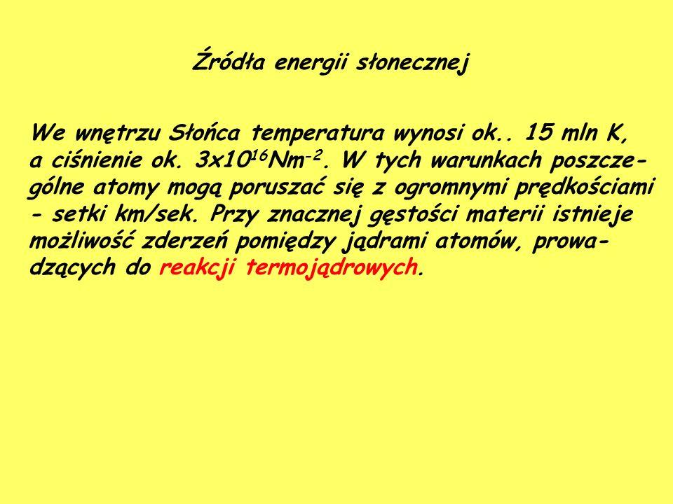 Źródła energii słonecznej We wnętrzu Słońca temperatura wynosi ok..