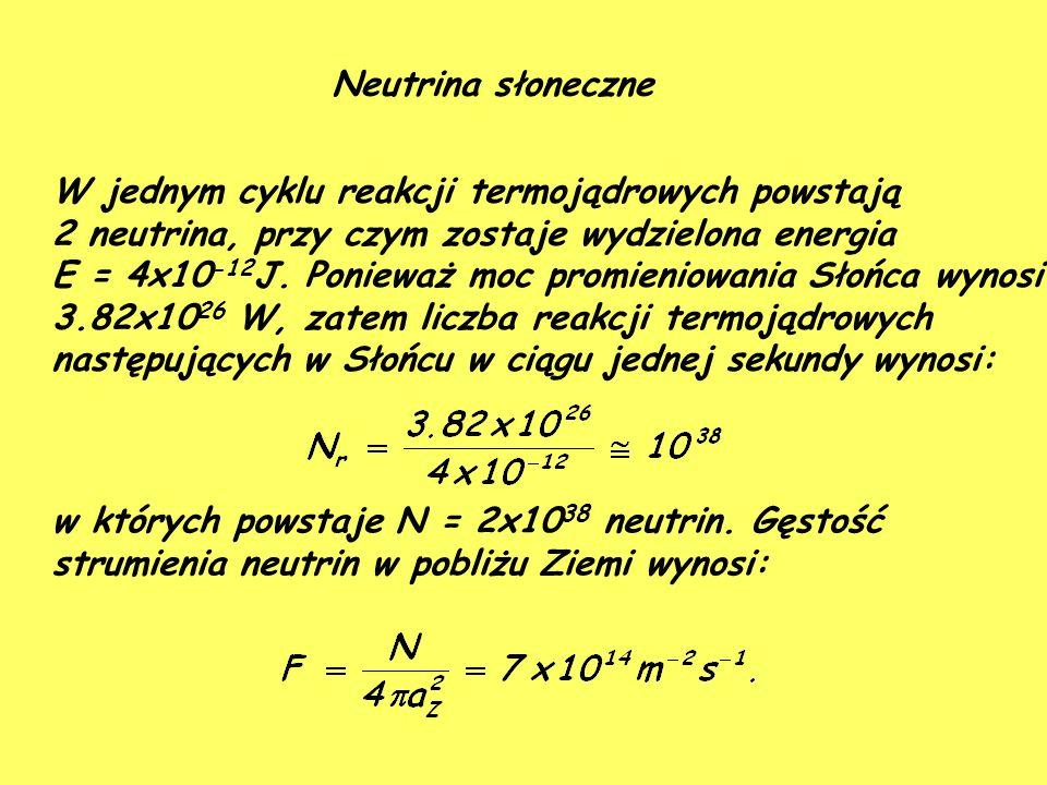 Neutrina słoneczne W jednym cyklu reakcji termojądrowych powstają 2 neutrina, przy czym zostaje wydzielona energia E = 4x10 -12 J.