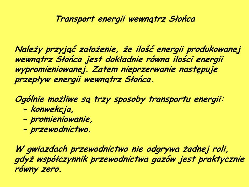Transport energii wewnątrz Słońca Należy przyjąć założenie, że ilość energii produkowanej wewnątrz Słońca jest dokładnie równa ilości energii wypromieniowanej.