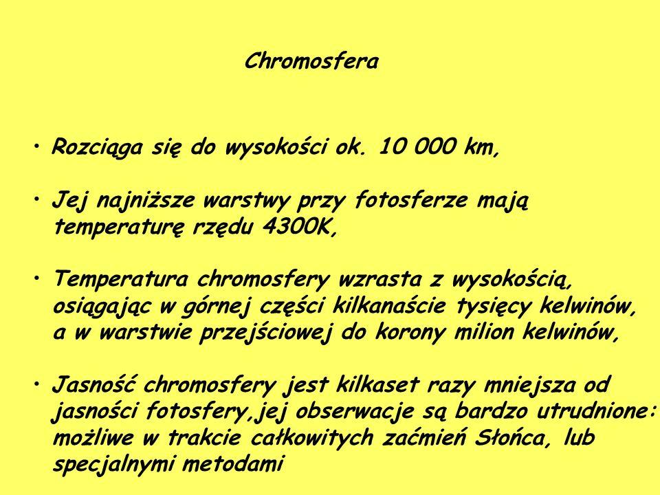 Chromosfera Rozciąga się do wysokości ok.