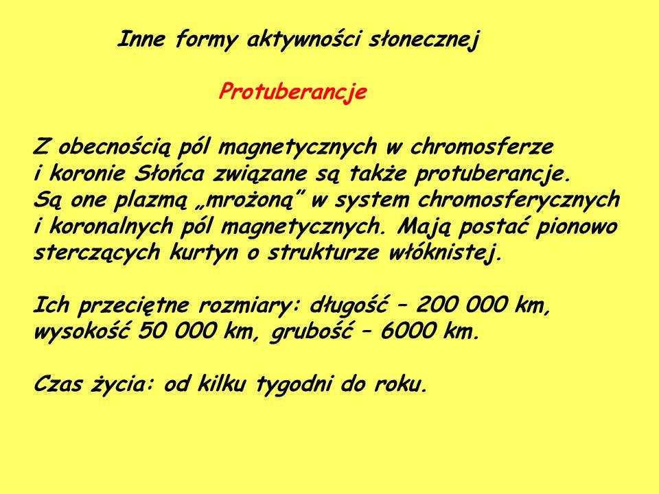 Inne formy aktywności słonecznej Protuberancje Z obecnością pól magnetycznych w chromosferze i koronie Słońca związane są także protuberancje. Są one